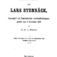 Minnesteckning öfver Lars Stenbäck, framställd vid Österbottniska studentafdelningens årsfest den 9 november 1870 [Elektroninen aineisto]